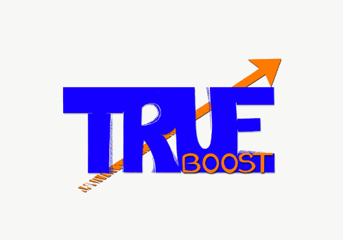 true boost logo grey background
