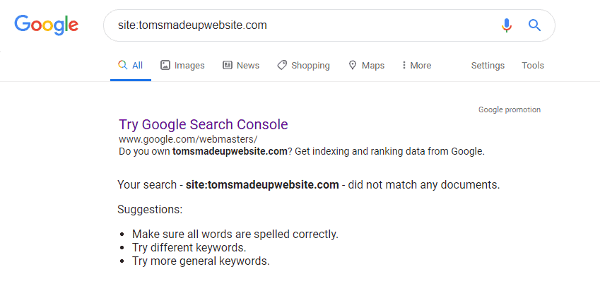 site not indexed in google