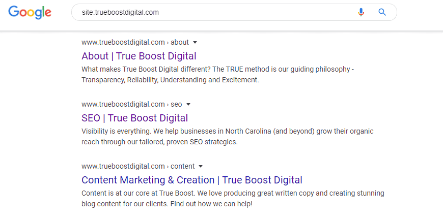 indexed site in google