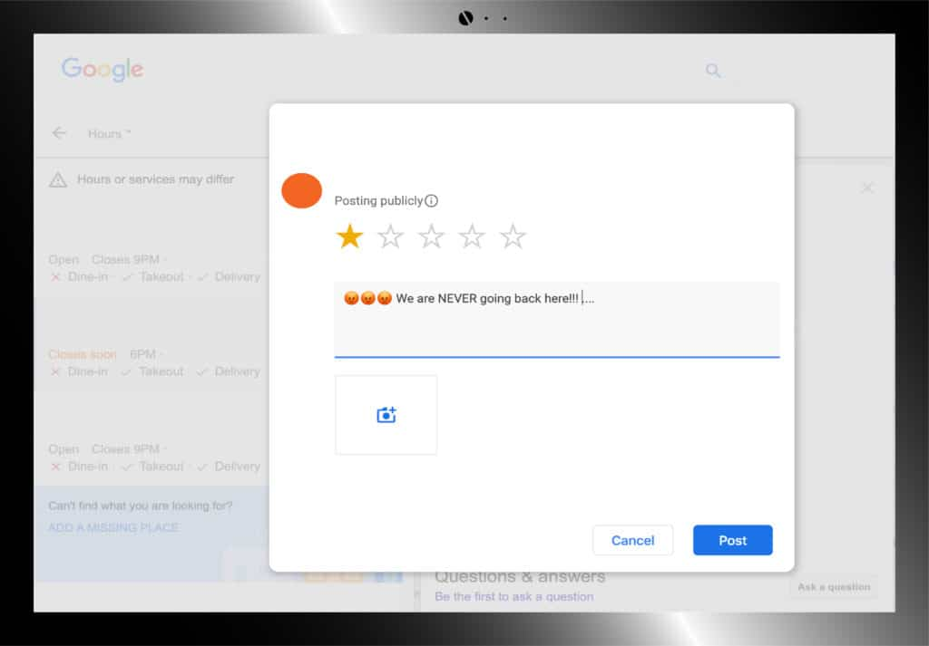 consumer leaving negative review on google