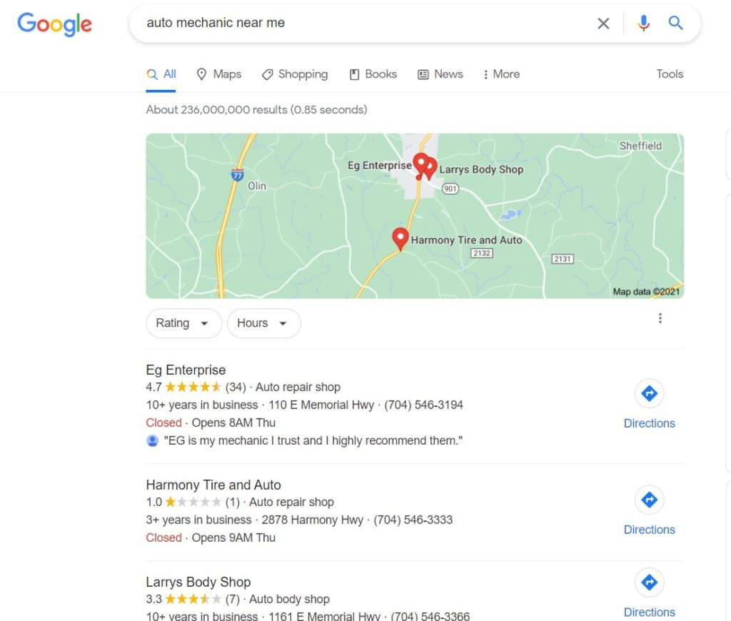 example of google my business search